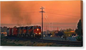 Canvas Print featuring the photograph Train Coming Through by Lynn Hopwood