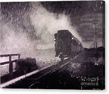 Train Departing Canvas Print by Lyric Lucas