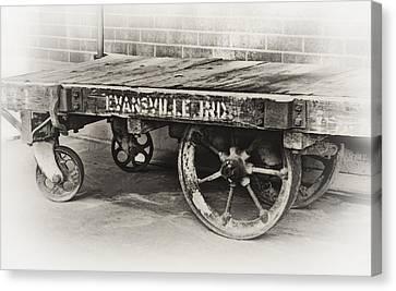 Train Depot Baggage Cart In High Key B/w Canvas Print by Greg Jackson