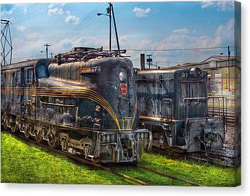 Train - Engine - 4919 - Pennsylvania Railroad Electric Locomotive  4919  Canvas Print by Mike Savad