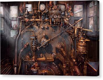 Suburbanscenes Canvas Print - Train - Engine - Hot Under The Collar  by Mike Savad