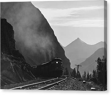 Train In Canadian Rockies Canvas Print by Underwood Archives
