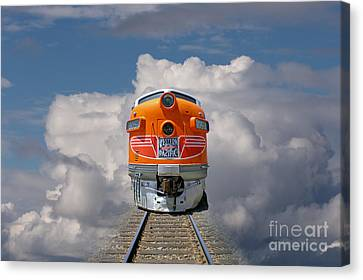 Train In Clouds Canvas Print by Ron Sanford