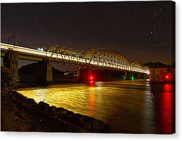 Train Lights In The Night Canvas Print