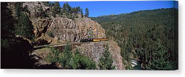Train Moving On A Railroad Track Canvas Print