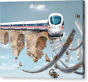 Train On An Aqueduct In Berlin Canvas Print by Smetek