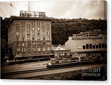 Train Passes Station Square Pittsburgh Antique Look Canvas Print by Amy Cicconi