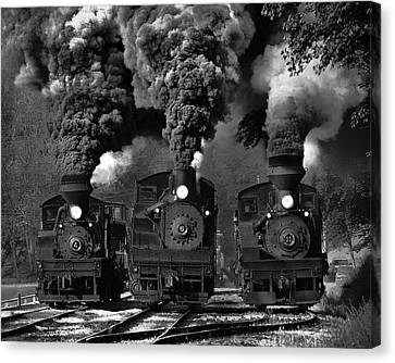 Explosion Canvas Print - Train Race In Bw by Chuck Gordon