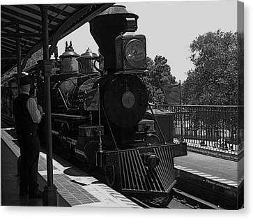 Train Ride Magic Kingdom Black And White Canvas Print by Thomas Woolworth