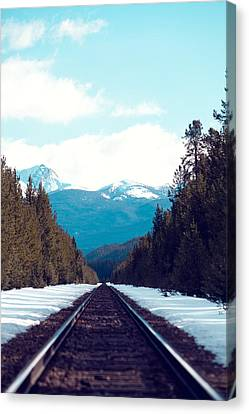 Train To Mountains Canvas Print by Kim Fearheiley