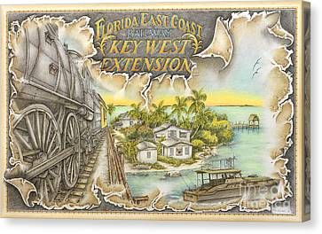 Florida Bridge Canvas Print - Train To Paradise by Mike Williams