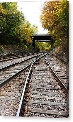 Train Tracks And Bridge In Autumn Canvas Print by Ellen Tully