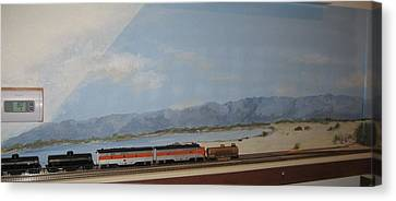 Train Tracks By Salton Sea Canvas Print by Maria Hunt