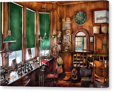 Train - Yard - The Stationmasters Office  Canvas Print by Mike Savad