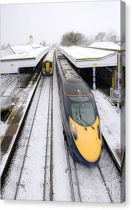 Highspeed Canvas Print - Trains In Winter by Carlos Dominguez