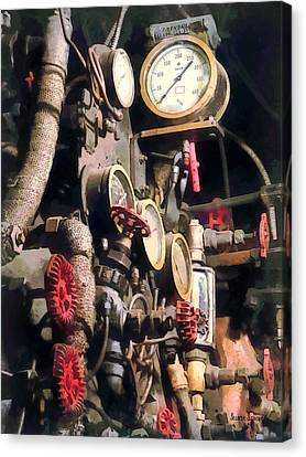 Trains - Inside Cab Of Steam Locomotive Canvas Print