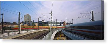 Trains On Railroad Tracks, Central Canvas Print by Panoramic Images