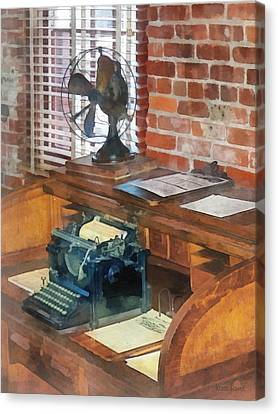 Typewriter Canvas Print - Trains - Station Master's Office by Susan Savad