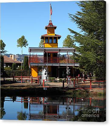 Traintown Canvas Print - Traintown Sonoma California 5d19218 Square by Wingsdomain Art and Photography