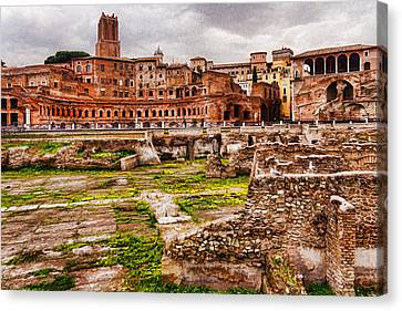 Trajan's Market And Forum - Impressions Of Rome Canvas Print by Georgia Mizuleva