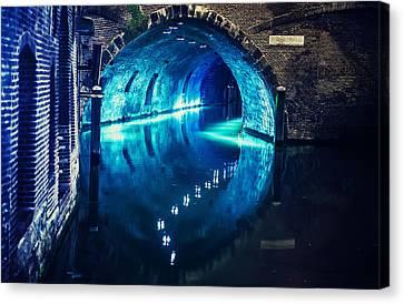 Trajectum Lumen Project. Blue Bridge. Netherlands Canvas Print by Jenny Rainbow