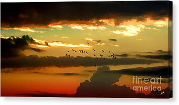Sunset 1 Canvas Print by Ze  Di