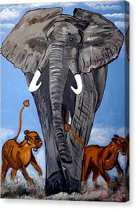 Canvas Print featuring the painting Trampling Elephant by Nora Shepley
