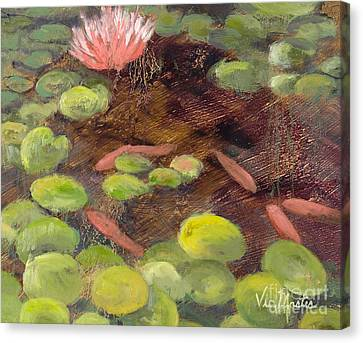 Tranquil Moments-rectangle With Gold Leaf By Vic Mastis Canvas Print