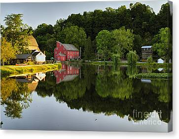 Tranquil River Reflections  Canvas Print by George Oze