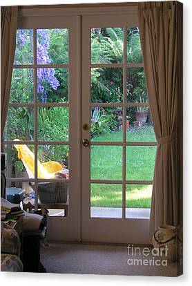 Tranquility Through French Doors Canvas Print by Bev Conover