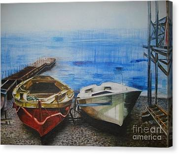Bamboo House Canvas Print - Tranquility Till Tide From The Farewell Songs by Prasenjit Dhar