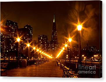 Transamerica Pyramid From Pier Canvas Print by Suzanne Luft