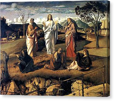 Canvas Print featuring the painting Transfiguration Of Christ 1487 Giovanni Bellini by Karon Melillo DeVega