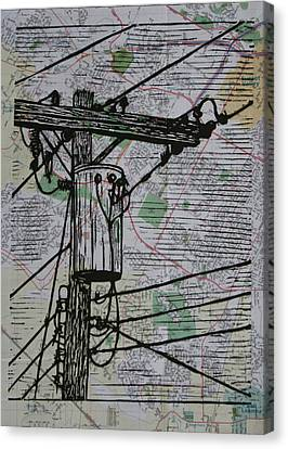Transformer On Map Canvas Print by William Cauthern