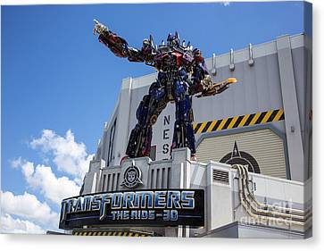 Prime Canvas Print - Transformers The Ride 3d Universal Studios by Edward Fielding
