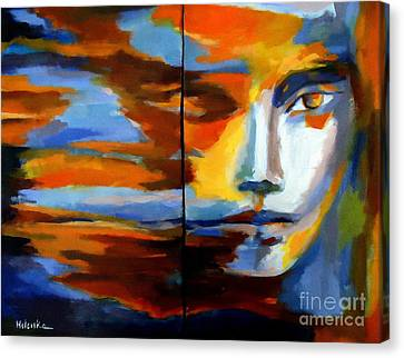 Canvas Print featuring the painting Transition - Diptic by Helena Wierzbicki
