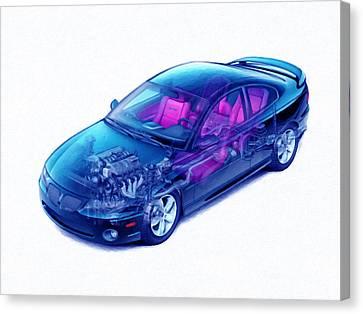Transparent Car Concept Made In 3d Graphics 4 Canvas Print