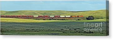 Transportation. Panorama With A Train. Canvas Print by Ausra Huntington nee Paulauskaite