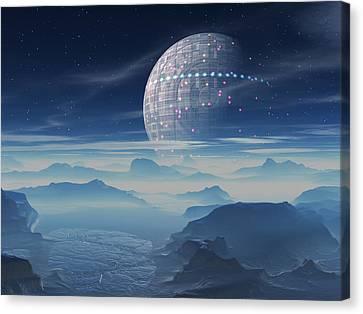 Tranus Alien Planet With Satellite Canvas Print