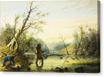Trapping Beaver Canvas Print by Alfred Jacob Miller