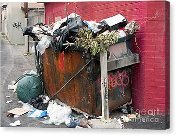 Canvas Print featuring the photograph Trash Dumpster In Slums by Gunter Nezhoda