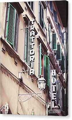 Trattoria Hotel Shop Sign Canvas Print by Kim Fearheiley