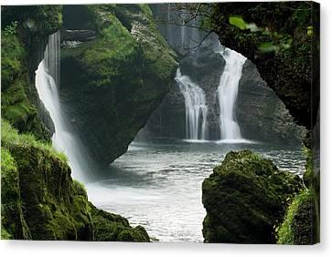 Traunfall Waterfall In Viecht Canvas Print by Thomas Aichinger