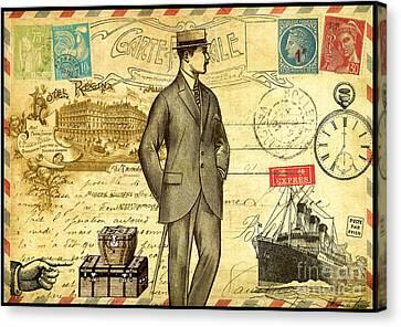 Travel Diary Man Canvas Print by Marion De Lauzun