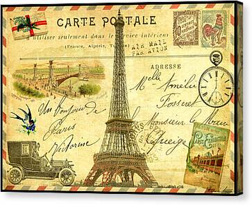 Travel Diary Paris Canvas Print by Marion De Lauzun