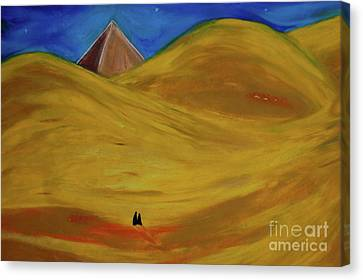 Canvas Print featuring the drawing Travelers Desert by First Star Art
