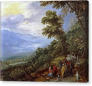Travelers Meeting Band Of Gypsies On Mountain Pass Canvas Print by Jan Brueghel the Elder