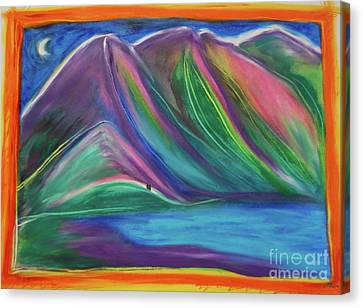 Canvas Print featuring the painting Travelers Mountains By Jrr by First Star Art