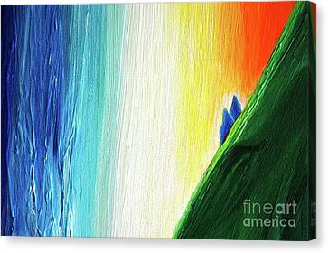 Canvas Print featuring the painting Travelers Rainbow Waterfall Detail by First Star Art