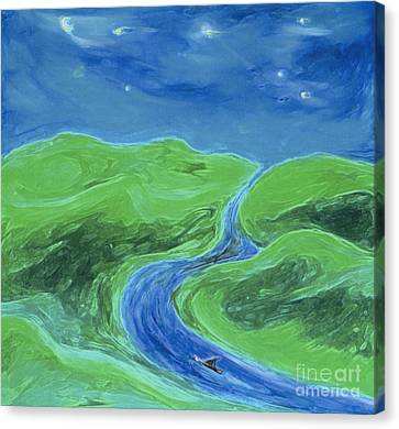 Canvas Print featuring the painting Travelers Upstream By Jrr by First Star Art